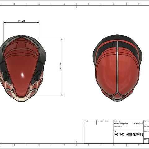 d2.png Download STL file Red Hood Helmet Injustice 2 • Model to 3D print, VillainousPropShop