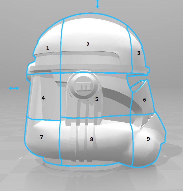 split.png Download free STL file Clone Trooper Helmet Phase 2 Star Wars • 3D printable template, VillainousPropShop