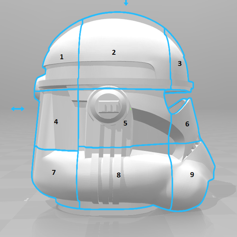 split.png Télécharger fichier STL gratuit Clone Trooper Casque Phase 2 Star Wars • Plan pour impression 3D, VillainousPropShop