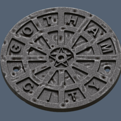 Download free 3D printing designs Gotham City Manhole Cover Coaster (Batman), VillainousPropShop