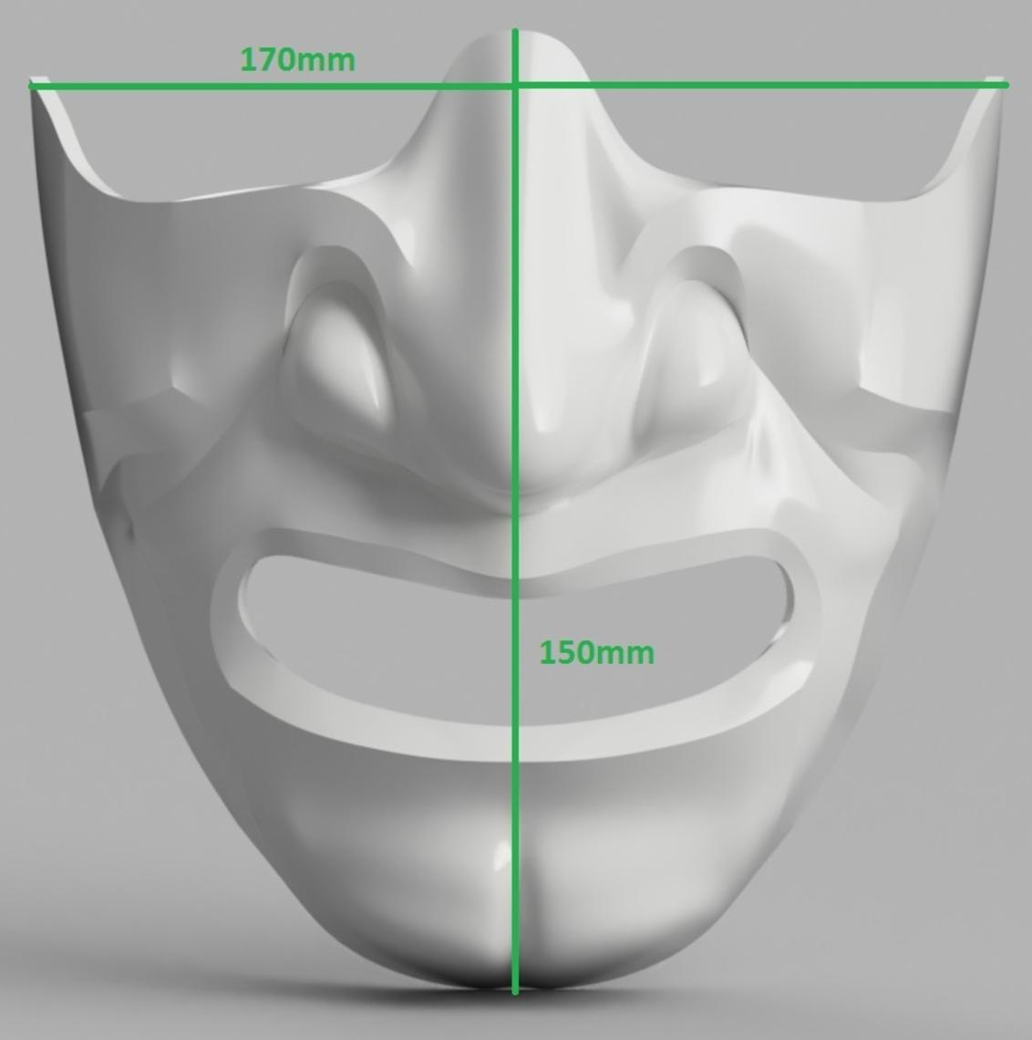 Capture d'écran 2017-09-14 à 16.07.09.png Download free STL file Samurai Half Mask (Mempo) • Model to 3D print, VillainousPropShop