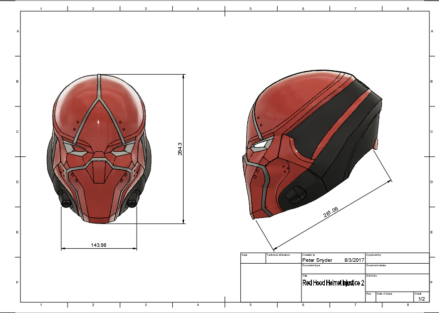 d1.png Download STL file Red Hood Helmet Injustice 2 • Model to 3D print, VillainousPropShop