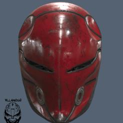 Red Hood Cyber Ninja logo.png Télécharger fichier STL Casque Cyborg Ninja à capuche rouge • Design imprimable en 3D, VillainousPropShop