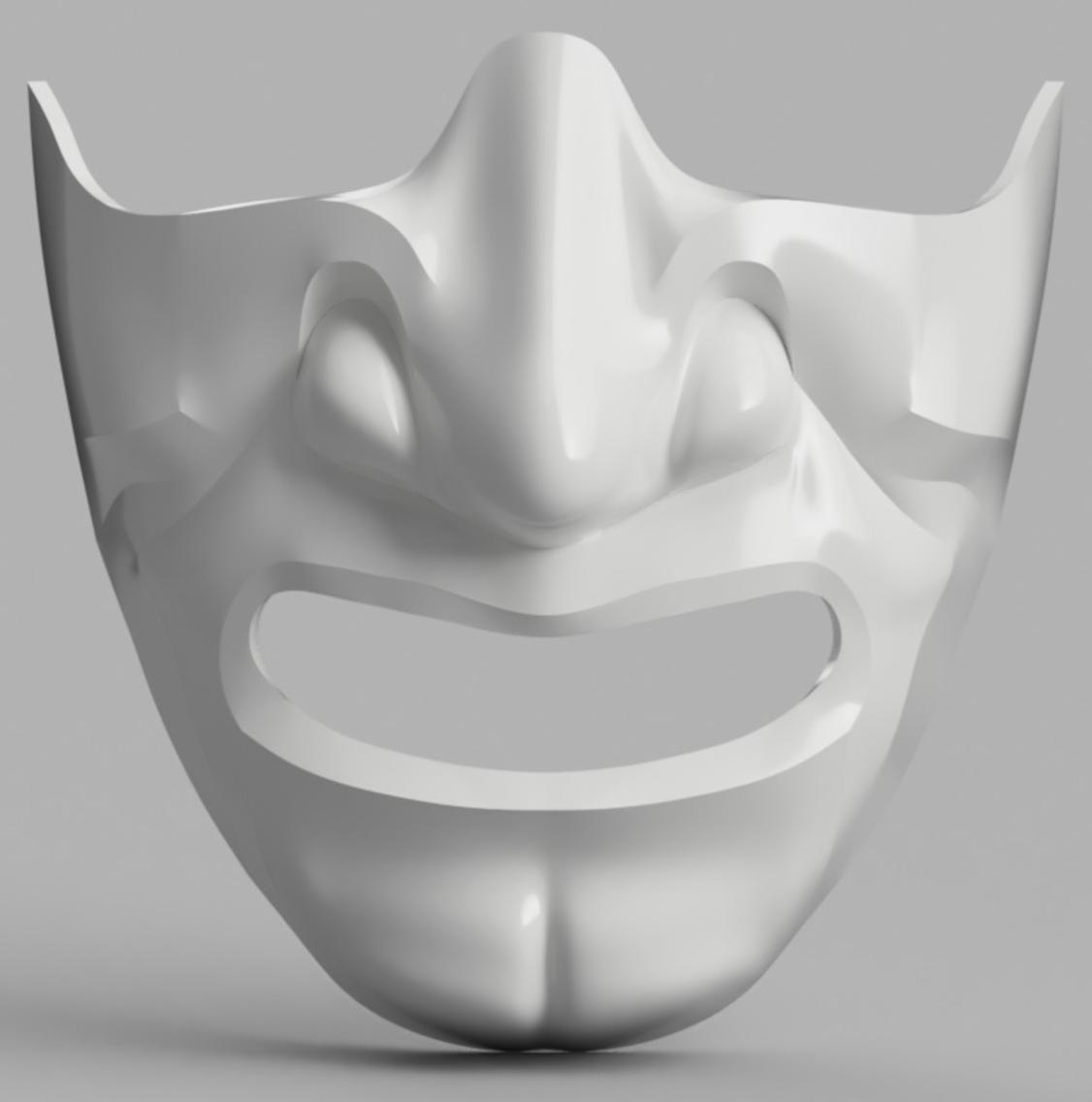 Capture d'écran 2017-09-14 à 16.07.02.png Download free STL file Samurai Half Mask (Mempo) • Model to 3D print, VillainousPropShop