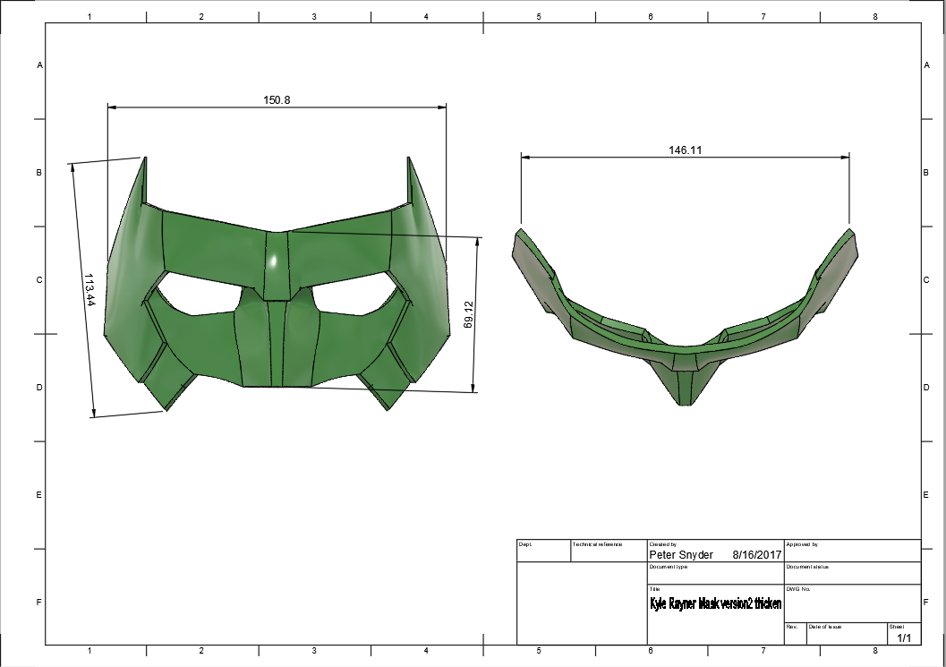 d1.png Download STL file Kyle Rayner Mask Green Lantern • 3D print object, VillainousPropShop
