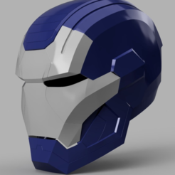 Free 3D printer designs Iron Patriot Helmet (Iron Man), VillainousPropShop