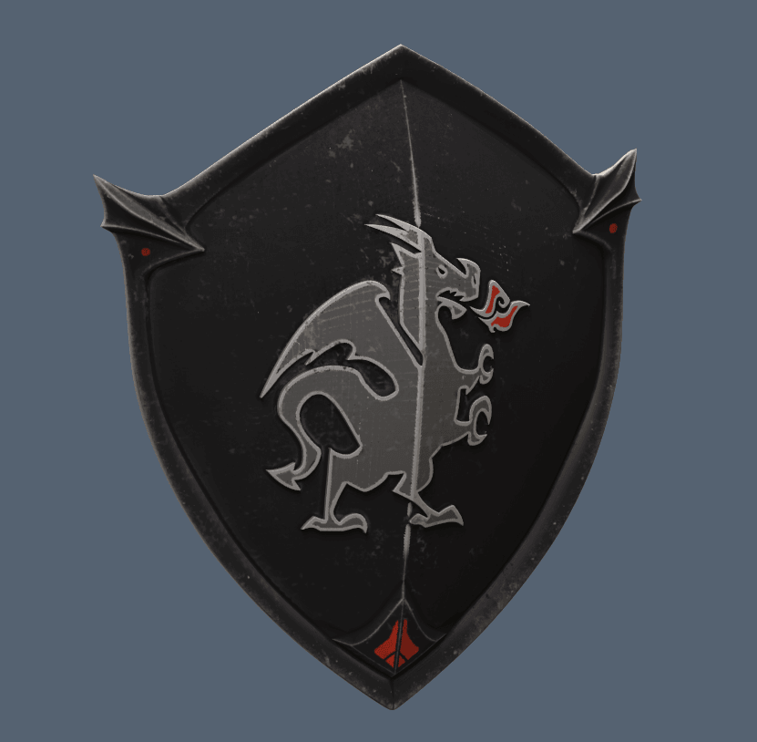 Shield with Dragon.png Download STL file Black Knight Shield Fortnite • 3D print template, VillainousPropShop