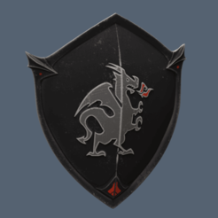 Shield with Dragon.png Télécharger fichier STL Bouclier de Chevalier Noir Fortnite • Design pour impression 3D, VillainousPropShop