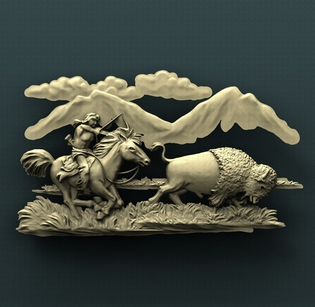 1140. Buffalo Hunter.jpg Download free STL file Buffalo • 3D printable model, stl3dmodel