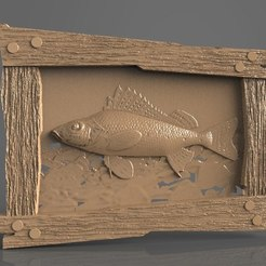Free STL file fish in a river wooden frame cnc, stl3dmodel