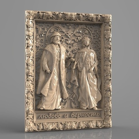 Descargar archivos 3D gratis marco de arte cnc king and queen, stl3dmodel