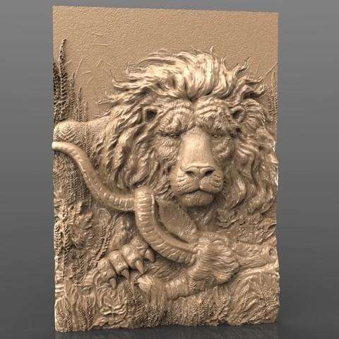 Télécharger fichier impression 3D gratuit magnifique lion mangeur d'animaux jungle désert désert cnc art routeur, stl3dmodel