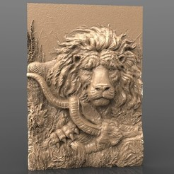 Free STL magnificent lion eating animal jungle desert cnc art router, stl3dmodel