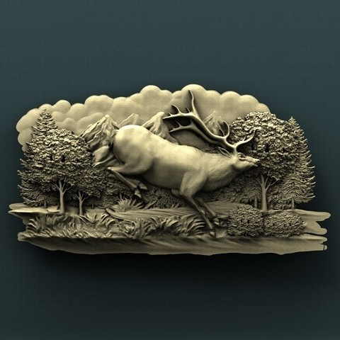 1139. Running deer.jpg Download free STL file Deer • Model to 3D print, stl3dmodel