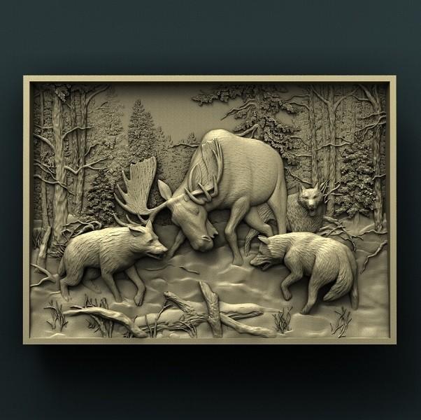 1.jpg Download free STL file Elk and wolfs • 3D print template, stl3dmodel