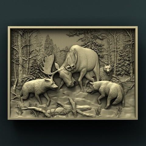 Descargar diseños 3D gratis Alce y lobos, stl3dmodel