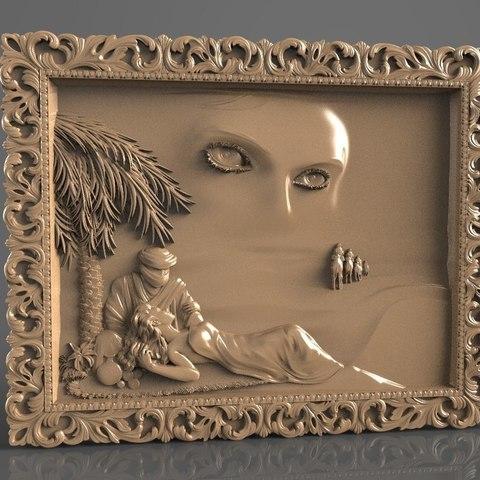 Télécharger modèle 3D gratuit sahara desert chameau femme chameau dans le sable cnc, stl3dmodel