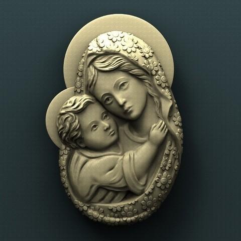 Archivos STL gratis Virgen María, stl3dmodel