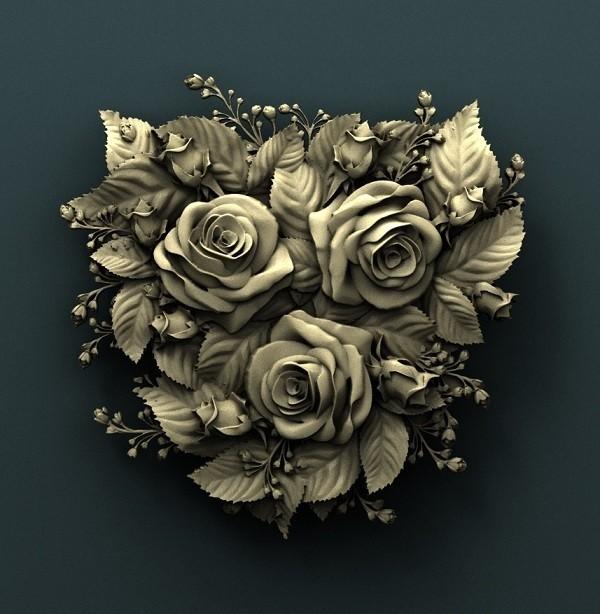 921. Roses.jpg Download free STL file Roses • Model to 3D print, stl3dmodel