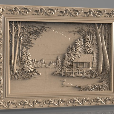 Free 3D printer designs lake with duck in front of a cabin cnc, stl3dmodel