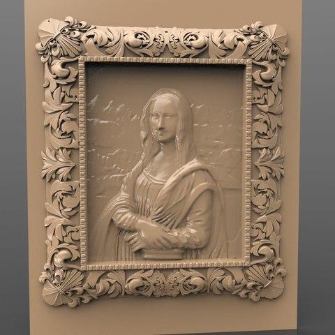 Fichier STL gratuit mona lisa da vinci frame cnc art louvre paris museum, stl3dmodel