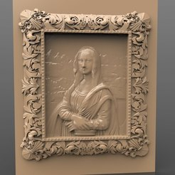 Download free 3D printing files mona lisa da vinci frame cnc art louvre paris museum, stl3dmodel