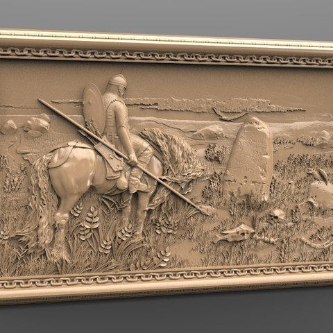 Free 3D printer files soldier on his horse in front of a grave yard router cnc, stl3dmodel