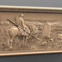 Download free 3D printing files soldier on his horse in front of a grave yard router cnc, stl3dmodel
