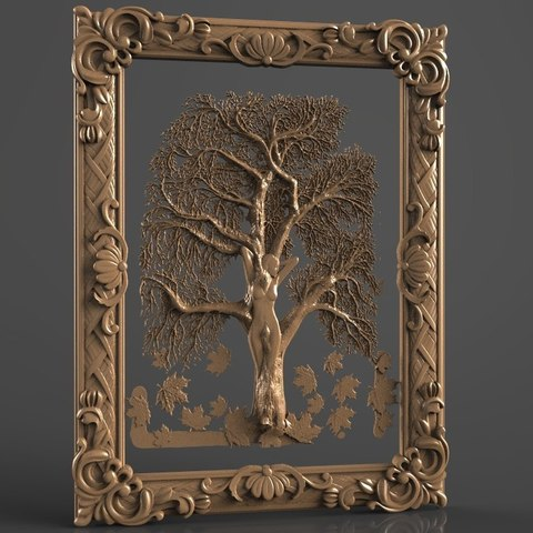 Free 3D printer model naked woman in front of a tree nature, stl3dmodel