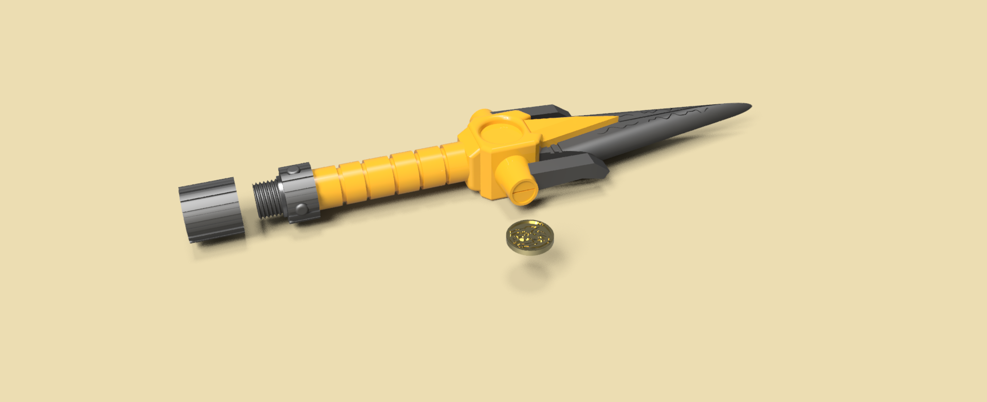 dagas ranger version 3 v36.png Download STL file Power Dagger Ranger Yellow Super Sentai • 3D printable template, Geralp