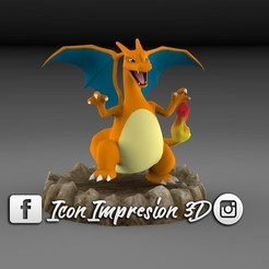 3D printer models Charizard with Base, Gerardolp