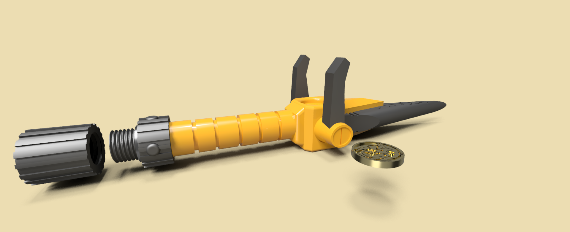 7.png Download STL file Power Dagger Ranger Yellow Super Sentai • 3D printable template, Geralp