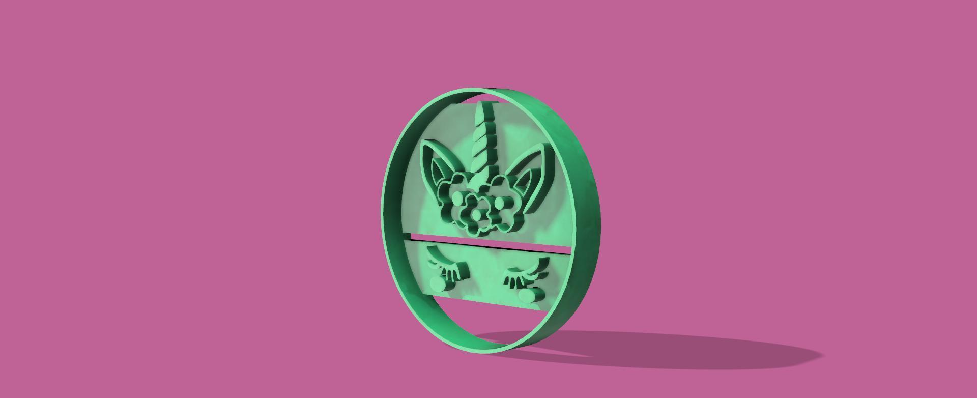 unicornio ojitos v1.jpg Download STL file Unicorn and flower cookie cutter • 3D printer model, Geralp