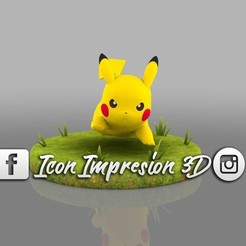Download 3D printer templates Picachu model running and thunder impact with base, Gerardolp