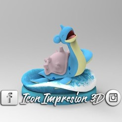 Download STL file Pokemon Lapras with Base, Gerardolp