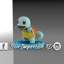 STL file pokemon squirtle with base, Gerardolp