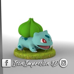 STL files pokemon bulbasaur and base, Gerardolp