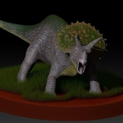 3D printer models Triceratops with base, Gerardolp