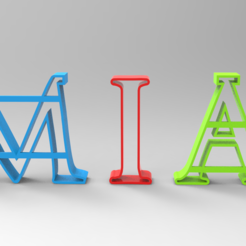 Captura.PNG Download STL file Letters cookie cutter ( MIA ) • 3D printing template, Geralp