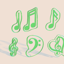 3D printing model Music notes cookie cutter, Gerardolp