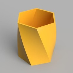 twisted hexagon vase v2 home-crop.jpg Download OBJ file Twisted Hex Vase / Pencil Holder • 3D printable design, O3D