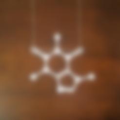 Caffeine_Molecule_Necklace.stl Download STL file Caffeine Molecule Pendant • 3D print design, O3D