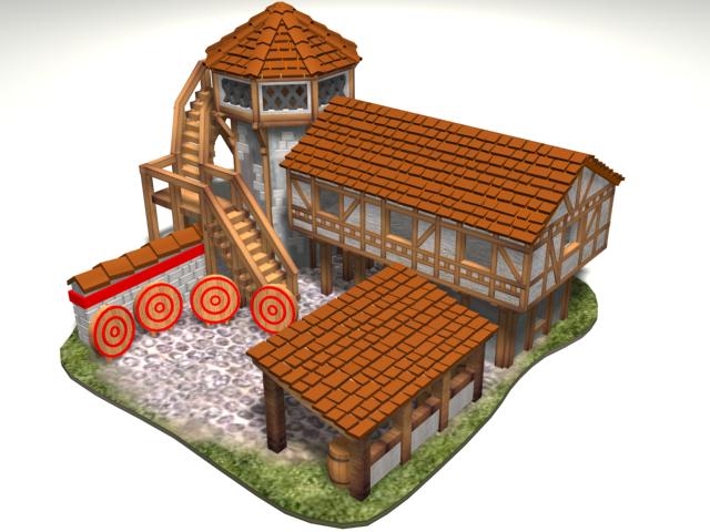 Archery2.png Download free OBJ file AOE 2 DE 'style' Archery Range • 3D print template, Tipam