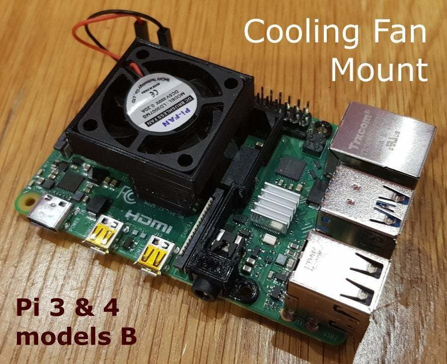 FanMount.jpg Download free STL file Cooling Fan Mount for Raspberry Pi 3 and 4 • 3D print object, Tipam