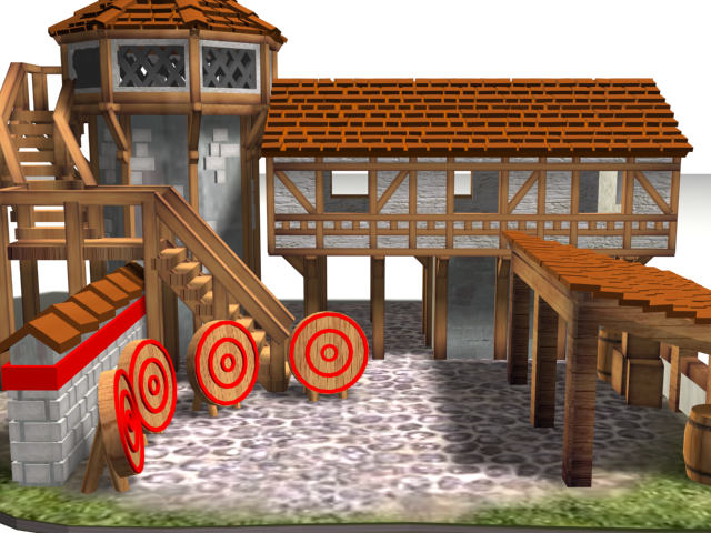 Archery3.png Download free OBJ file AOE 2 DE 'style' Archery Range • 3D print template, Tipam