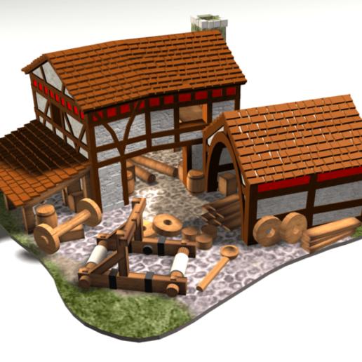 SiegeWorkshop.png Download free OBJ file AOE2 Style Siege Workshop 1 • 3D printable model, Tipam