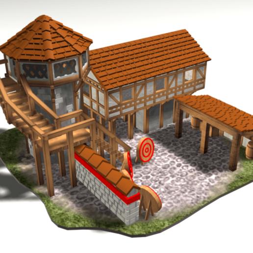 Archery1.png Download free OBJ file AOE 2 DE 'style' Archery Range • 3D print template, Tipam