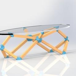 Plan 3D gratuit Table basse scandinave bois et PVC, conan103118