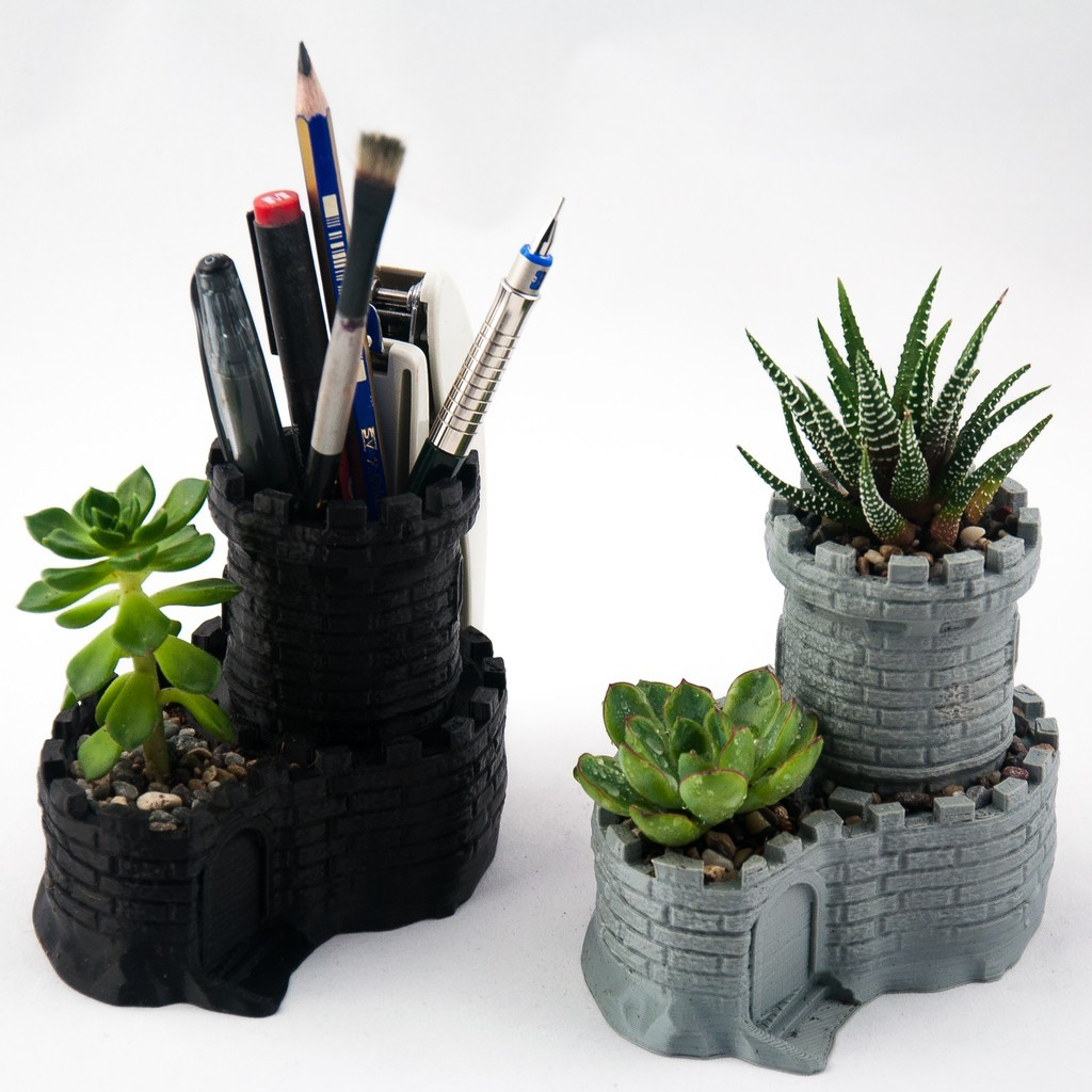 2db25279a8b98b8b8a6b89c4a32e4444_display_large.jpg Download free STL file Multipurpose Castle Planter - Tower Planter And Pen Holder • 3D printable model, reahax