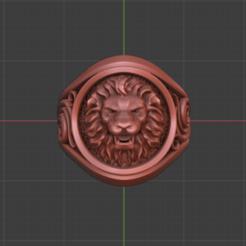 lion8.png Download STL file lion signed ring jewelry • 3D printer design, Gavig